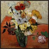 Roses and Anemones Framed Canvas Print by Vincent van Gogh