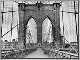 Pedestrian Walkway on the Brooklyn Bridge Framed Canvas Print by  Bettmann