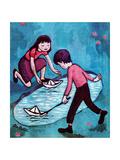 Paper Boats - Jack & Jill Giclee Print by Leo Politi