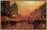 A Street at Night Framed Canvas Print by John Atkinson Grimshaw