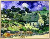 Thatched Cottages at Cordeville, Auvers-Sur-Oise, c.1890 Framed Canvas Print by Vincent van Gogh