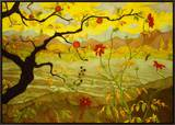 Apple Tree with Red Fruit Framed Canvas Print by Paul Ranson