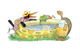 Ted, Ed, Caroll and the Swimming Pool - Turtle Giclee Print by Valeri Gorbachev
