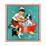 Time for a Bath - Child Life Giclee Print by Clarence Biers