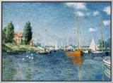 Red Boats, Argenteuil Framed Canvas Print by Claude Monet