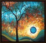 Aqua Burn Framed Canvas Print by Megan Aroon Duncanson