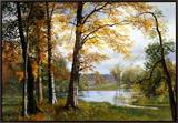 A Quiet Lake Framed Canvas Print by Albert Bierstadt