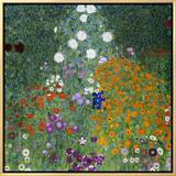 Farmer's Garden Framed Canvas Print by Gustav Klimt