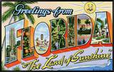 "Greetings from Florida, ""The Land of Sunshine"" Framed Canvas Print by  Lake County Museum"
