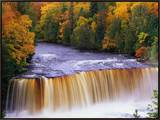 Tahquamenon Falls in Autumn Framed Canvas Print by Joseph Sohm