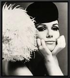 Nicole de la Marge in a Peter Shepherd Velvet Cap, 1965 Framed Canvas Print by John French