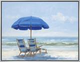Beach Chairs 1 Framed Canvas Print by Jill Schultz-Mgannon