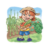 Girl with Vegetables - Turtle Giclee Print