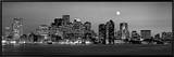 Black and White Skyline at Night, Boston, Massachusetts, USA Framed Canvas Print by  Panoramic Images