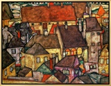 Yellow City, 1914 Framed Canvas Print by Egon Schiele