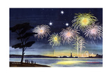 Fireworks Show - Jack & Jill Giclee Print by Wilmer H. Wickham