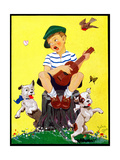 Singing on a Stump - Child Life Giclee Print by John Gee