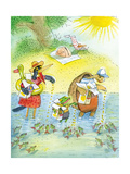 Ted, Ed and Caroll and the Tiny Fish 4 - Turtle Giclee Print by Valeri Gorbachev