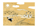 Down on the Farm - Jack & Jill Giclee Print by Paul Froelich