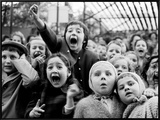 Wide Range of Facial Expressions on Children at Puppet Show the Moment the Dragon is Slain Framed Canvas Print by Alfred Eisenstaedt