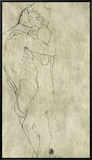 Lovers, Black Crayon (1908) Framed Canvas Print by Gustav Klimt