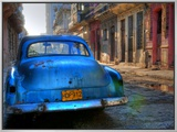 Blue Car in Havana, Cuba, Caribbean Framed Canvas Print by Nadia Isakova