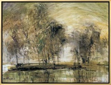 Willows in Morning Wind Framed Canvas Print by Wanqi Zhang