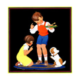 Teaching Manners - Child Life Giclee Print by Clarence Biers