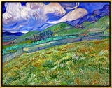 Wheatfield and Mountains, c.1889 額入りキャンバスプリント : フィンセント・ファン・ゴッホ