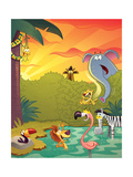 Sundown at the Water Hole - Jack & Jill Giclee Print by Gary LaCoste