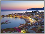 Harbour at Dusk, Pythagorion, Samos, Aegean Islands, Greece Framed Canvas Print by Stuart Black