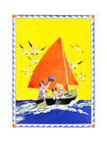 Sailing - Child Life Giclee Print by Janet Laura Scott