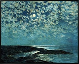 Moonlight, Isle of Shoals, 1892 Framed Canvas Print by Childe Hassam