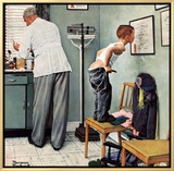 """Before the Shot"" or ""At the Doctor's"", March 15,1958 Framed Canvas Print by Norman Rockwell"