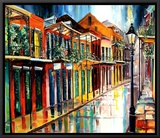 French Quarter Rain Framed Canvas Print by Diane Millsap