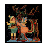 Dressing the Reindeer - Child Life Giclee Print by Hazel Frazee