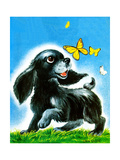 Dog and Butterflies - Jack & Jill Giclee Print by Irma Wilde
