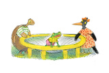 Ted, Ed, Caroll and the Trampoline - Turtle Giclee Print by Valeri Gorbachev