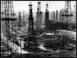 Forest of Wells, Rigs and Derricks Crowd the Signal Hill Oil Fields Framed Canvas Print by Andreas Feininger