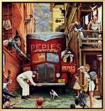 Rua bloqueada, 9 de julho de 1949 Impressão em tela emoldurada por Norman Rockwell