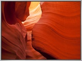 Sunlight Filters Down Carved Red Sandstone Walls of Lower Antelope Canyon, Page, Arizona, Usa Framed Canvas Print by Paul Souders