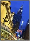 New York City, Manhattan, Grand Central Station and the Chrysler Building Illuminated at Dusk, USA Framed Canvas Print by Gavin Hellier