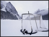 Ice Skating Equipment, Lake Louise, Alberta Framed Canvas Print