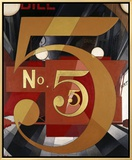 I Saw the Figure 5 in Gold Framed Canvas Print by Charles Demuth