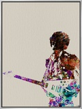 Hendrix With Guitar Watercolor Framed Canvas Print by  NaxArt