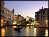 Rialto Bridge, Grand Canal, Venice, Italy Framed Canvas Print by Alan Copson