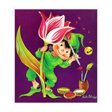 Tulip Touch-Up - Jack & Jill Giclee Print by Ruth Bendel
