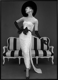 Model in John Cavanagh's Strapless Evening Gown, Spring 1957 Framed Canvas Print by John French