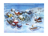 Winter Village - Jack & Jill Giclee Print by Dorothy H. Jones