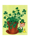 Leprechaun and Clover - Jack & Jill Giclee Print by Milt Groth